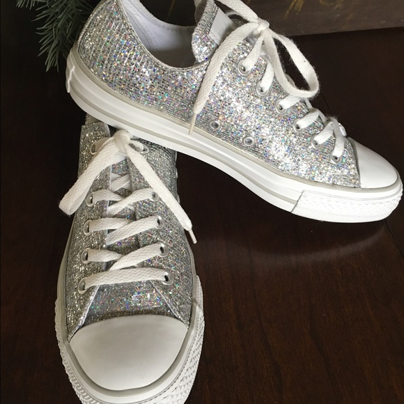 Converse Shoes - ⚡️Sale Ending⚡ 💍Sparkly Silver Converse Sneakers. 0f97f63e5604