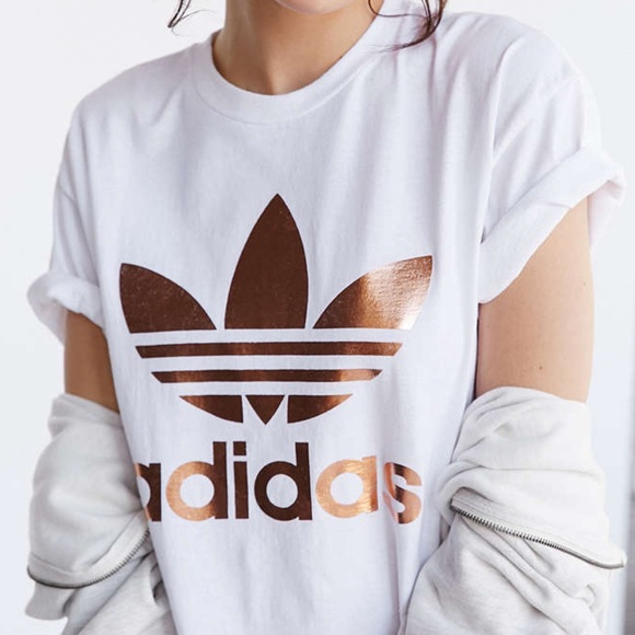 26 off adidas tops rose gold adidas logo tee from diana 39 s closet on poshmark. Black Bedroom Furniture Sets. Home Design Ideas