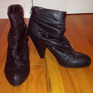 Shoes - Scrunchy pleather booties