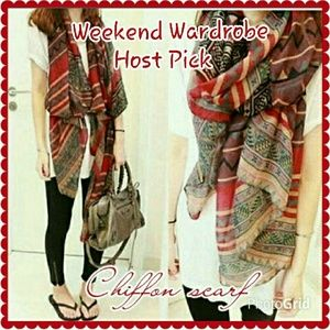 **Host Pick**  Long red chiffon scarf.