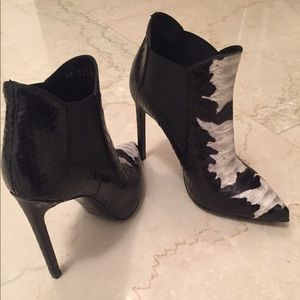 Saint Laurent Shoes - Saint Laurent black/white snakeskin booties