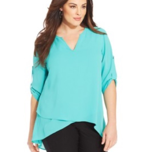 84% off Alfani Tops - alfani plus size tab sleeve high low layered ...