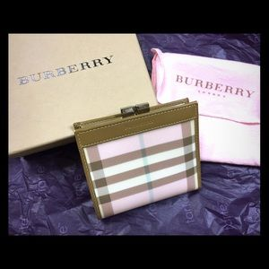 New Burberry Classic Nova Check PVC Pink Wallet