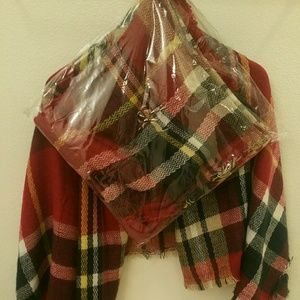 Red Plaid Blanket Scarf ❌RESERVED❌