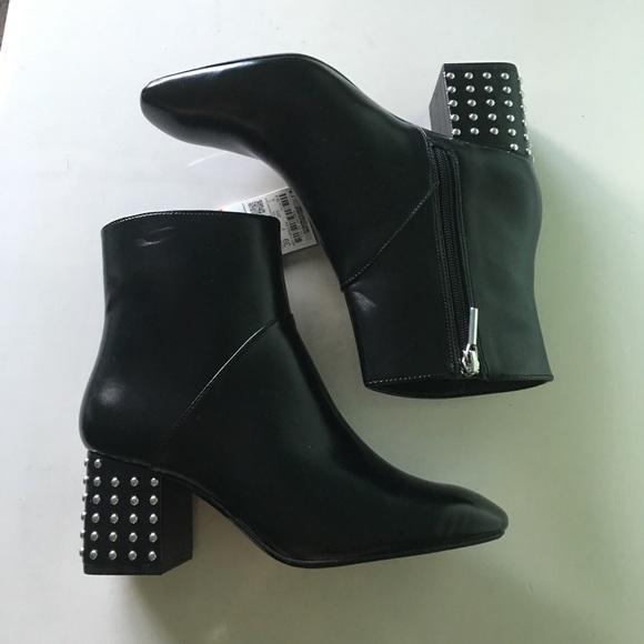 ZARA studded heel black leather boots c0c75b58cc0c