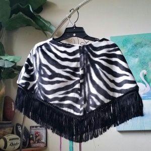 BEBE Faux Zebra Fringed Poncho