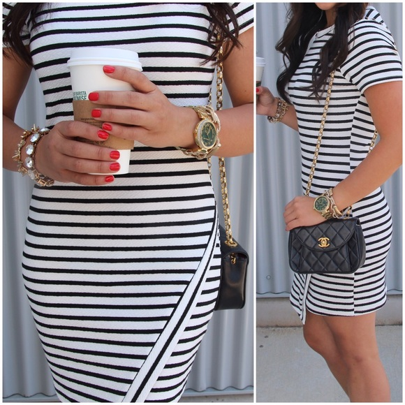 Boutique Dresses - ❌BUNDLED❌ Black & White Striped Asymmetrical Dress