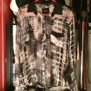 Rails Tops - FINAL PRICE!! Rails Silk & Lambskin Leather Blouse
