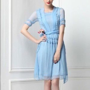 Victorian Ruffled Baby Blue Vintage Inspired Dress