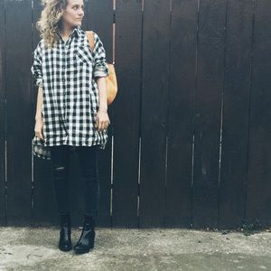 Audrey 3+1 Tops - Buffalo Plaid Oversized Button Down