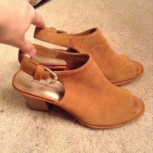 Bandolino Shoes - Tan / Brown Suede Bandolino Peep Toe Booties