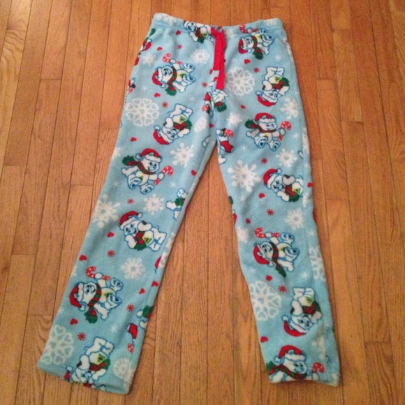 Christmas Pajama Pants.Used Fuzzy Polar Bear Christmas Pajama Pants