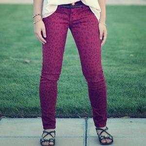 Current Elliot Red Leopard Jeans