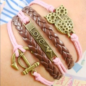 Jewelry - Brown and Pink Owl Lover Anchor Wrap Bracelet