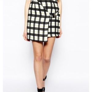NEW Wrap grid print skirt