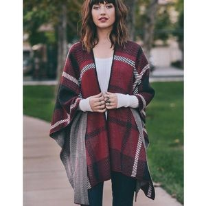 """Fire and Ice"" Plaid Print Poncho Wrap"