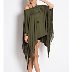 """Last Duchess"" Fringed Poncho Tunic Top"