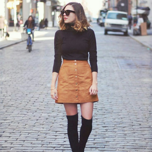 33f12ad668 Dresses & Skirts - 🆕 Cognac Tan Suede Button Up A-Line Skirt