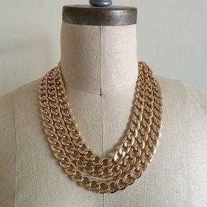Jewelry - 3-Strand Goldtone Chain Necklace