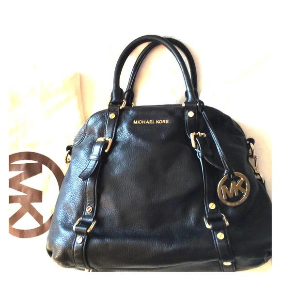 5ccd9aefde74 Michael Kors Bedford Leather Bowling Satchel Bag. M 566435fd729a6651f100f02e
