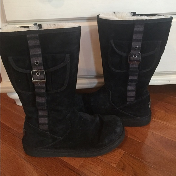 UGG tall black boots with buckle