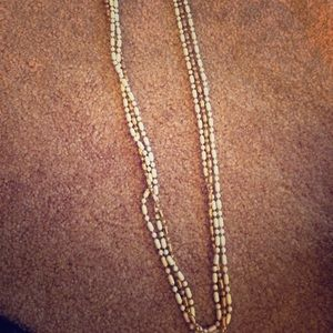 Gold and White Multi-Chain Necklace