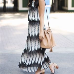 Black and Gold Feather Print Maxi Dress
