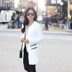REDUCED! White Coat with Zipper Details