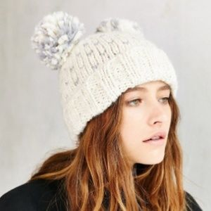 a92970afbe944 Urban Outfitters Accessories - Urban Outfitters Double Pom-pom Knit Beanie