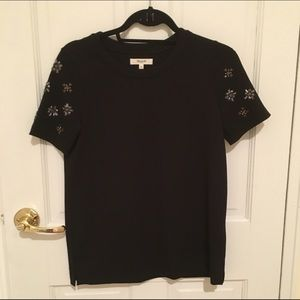 Madewell Tops - Black T-Shirt with Embellished Sleeves
