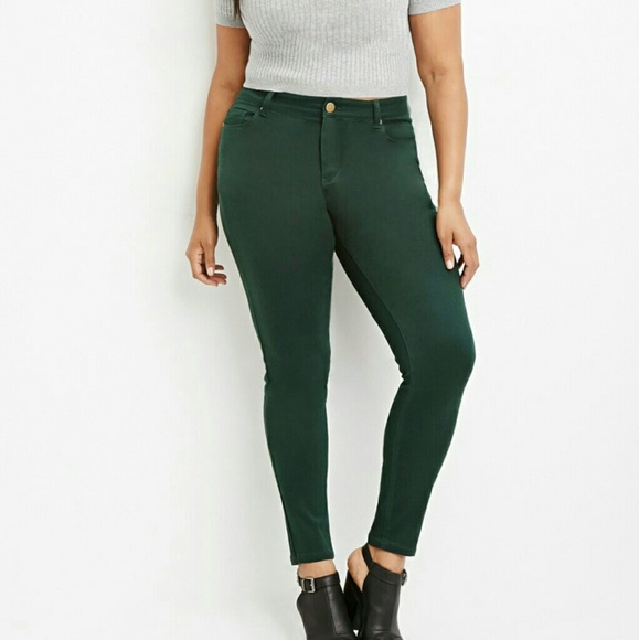 plus size green skinny jeans - Jean Yu Beauty