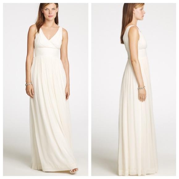 J. Crew Dresses | J Crew 100 Silk Long White Wedding Evening Dress ...