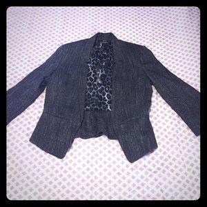 Express 3/4 sleeve blazer; black/white houndstooth