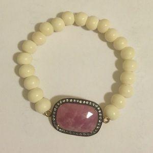 Pink sapphire & white topaz beaded bracelet