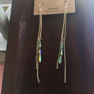 Boutique Jewelry - Gold Tassel Earrings w/ Iridescent Beads