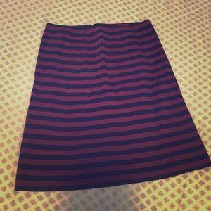 Mid length wine/navy striped dress skirt