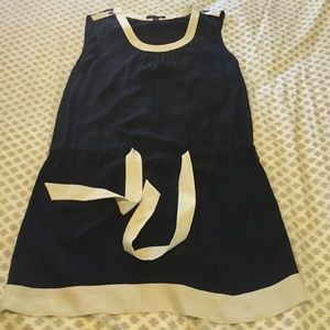 Navy and cream drop waisted dress