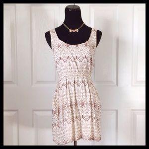 {Love 21} Cream & Brown Dress