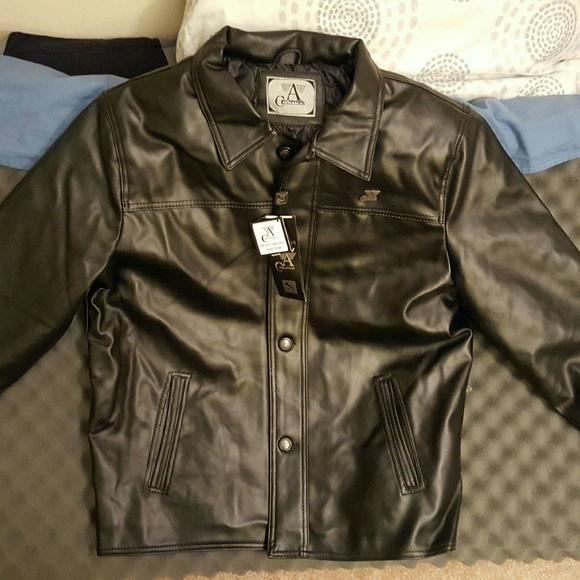 2032f1ebc A. Collezioni Black Leather Jacket NWT
