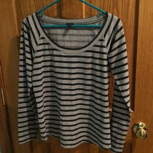 Gray Long Sleeve Striped J. Crew Shirt