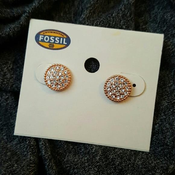 4d47d0c44 Fossil Jewelry | Rose Gold Circular Studs | Poshmark