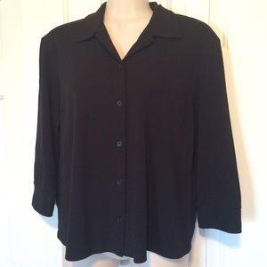 Black drapey jersey knit blouse