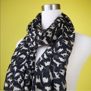 Accessories - *More Coming Soon!* Black & Cream Cat Print Scarf