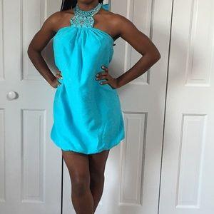 Blue bubble hem halter dress