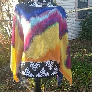 Color Color Color!!!Sheer Flowy Multi Colored Top