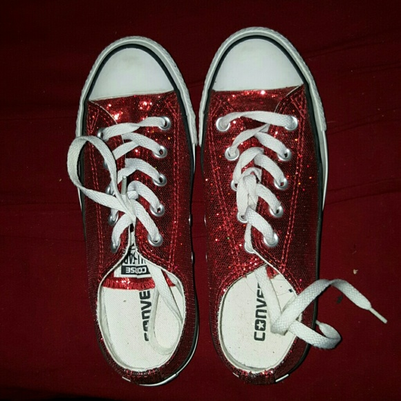Converse Shoes - Red glitter Converse shoes 73e070cd37