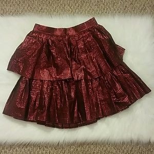 Dresses & Skirts - Metallic Red & Black Checkered Skirt