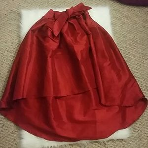 Red Satin High Low Skirt with Bow