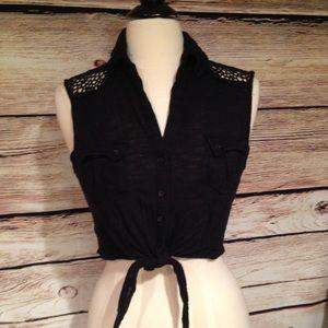 American Rag Tops - American Rag Black Crochet Back Crop Top M