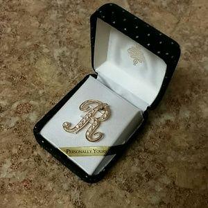NWT Gold Diamond Initial R Monogram Brooch Pin